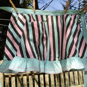 VTG Pink, Blue & Black Stripe Hostess Half Apron